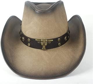 QinMei Zhou Fashion Women Men Western Cowboy Hat With Punk Leather Bull Band For Gentleman Sombrero Hat Size 58-59CM