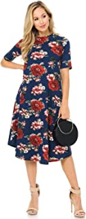 iconic luxe Women's Mock Neck Trapeze Midi Dress Solid and Floral Print