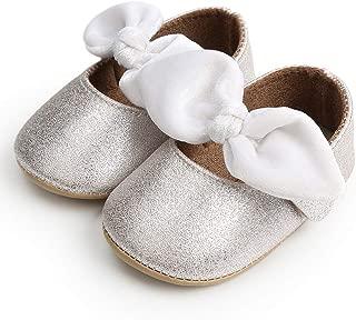 Avish Baby Girls Bowknot Crib Shoes Non-Slip Soft Sole Mary Jane Flats Infant Toddler Prewalker Dress Shoes