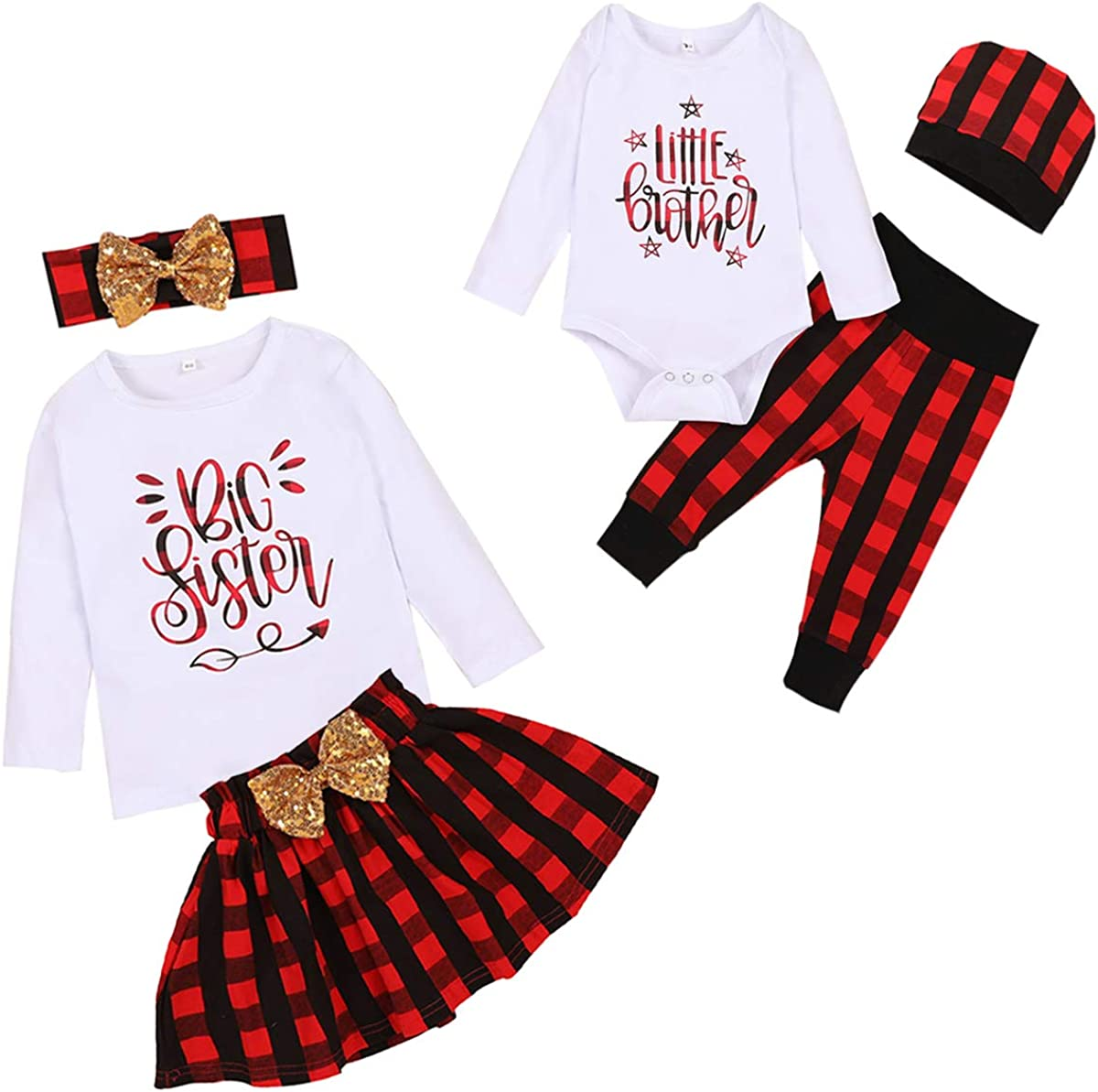 Baby Girl Boy Matching Clothes Christmas Big Sister Little Brother Tops Plaid Skirt Pants+Bow Headband 3pc Outfits