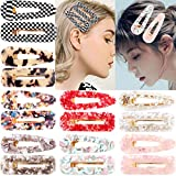 CELLOT 16PCS Acetic Acid Resin Hair Barrettes Gold Duckbill Totoise Clips Fashion Geometric Alligator Hair Clips for Women and Youngster Ladies Hair Accessories