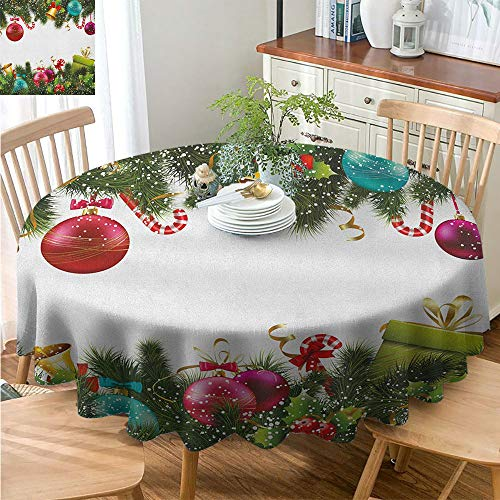 DILITECK Christmas Tablecloth Thanksgiving Tablecloth Round Polyester Tablecloth Christmas Snowy Winter Xmas Time Happy New Year Greeting Presents Bells Leaves Garland Round Table Multicolor D54