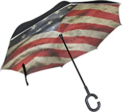 Reverse Umbrella Retro American Flag Windproof Double Layer Inverted Umbrella Anti-UV Protection with C-Shaped Handle for Car Outdoor Use