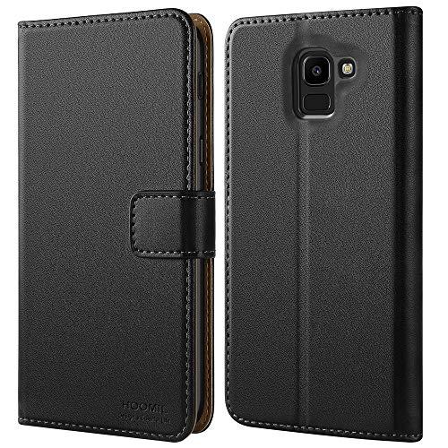 HOOMIL Handyhülle für Samsung Galaxy J6 2018 Hülle, Premium Leder Flip Schutzhülle für Samsung Galaxy J6 (2018) Tasche, Schwarz