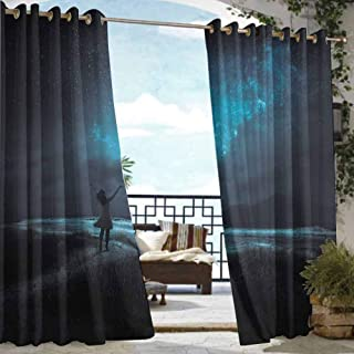 DILITECK Living Room/Bedroom Window Curtains Night Sky Woman Opening Hands for Wish Pray Ceremony in Full Moon Crescent Image Grommet Curtains for Bedroom W72 xL96 Turquoise and Black