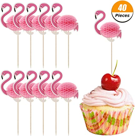 Xinzistar 40 Pieces 3D Flamingo Cake Toppers Party Supplies Cupcake Toppers Cocktail Picks Cake Decoration for Luau Hawaii Birthday Wedding Beach Party