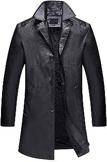 Beautyfine Men's Winter Large Medium Long Leather Warm Coats