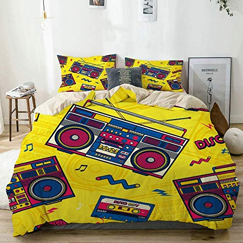 Totun Duvet Cover Set Beige,Pop Eighties Boombox Radio,Decorative 3 Piece Bedding Set with 2 Pillow Shams Easy Care Anti-Allergic Soft Smooth