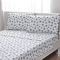 Brielle 100-Percent Cotton Flannel Sheet Set, Full, Taupe Snowflake