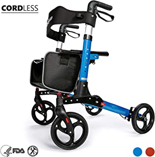 OasisSpace Ultra Folding Rollator Walker with Wide Seat 8 inches Antiskid Wheels Compact Design Baking Finish Walkers for Senior (Blue)