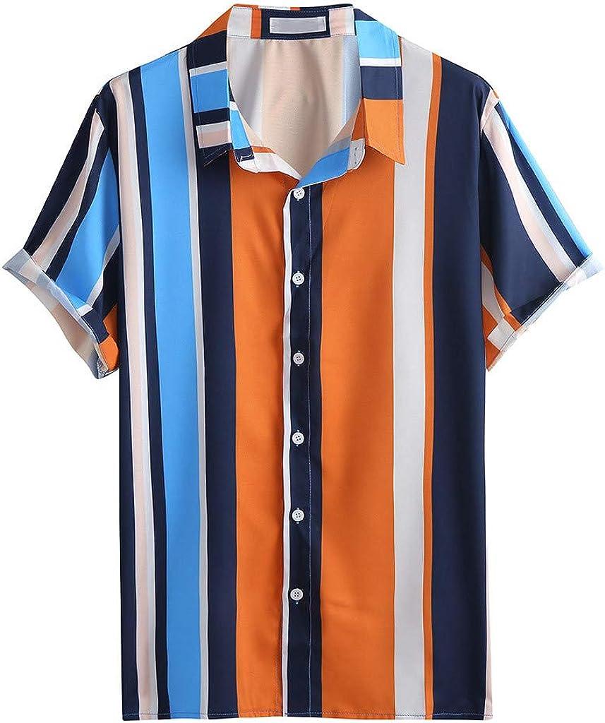 DEATU Hawaiian Shirts Mens Summer Fashion Casual Shirts Printed Button Down T-Shirts Big and Tall Short Sleeve Tees Tops