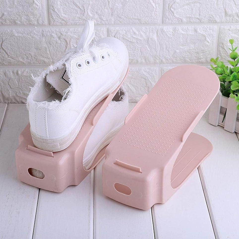 トレーダー赤面ストリーム靴ラック統合されたシンプルな靴収納ラックプラスチック製の靴のケア寝室のバスルームベッドの下ワードローブフィット10個,Pink
