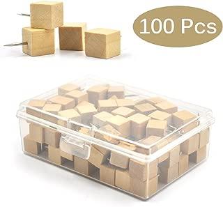 eZAKKA Wood Push Pins 100Pieces Square Wooden Thumb Tacks Decorative for Cork Boards Map Photos Calendar with Box