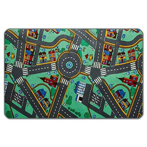 casa pura® Komfort Spielteppich Stadtleben | waschbarer Kinderteppich mit Häusern und Straßen | in 4 Größen erhältlich (95 x 200 cm)