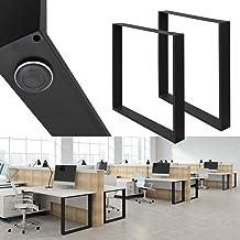 ECD Germany 2 stuks tafelpoten - 70 x 72 cm - gepoedercoat staal - zwart - industrieel ontwerp - tafelframe set tafelloper...