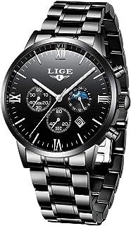 Lige Męskie zegarki wojskowe ze stali szlachetnej, złoto-czarny, wodoszczelny chronograf, zegarek na rękę, męski, eleganck...