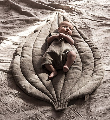 Why Choose Natural grey baby linen play mat plantain leaf, nursery decor