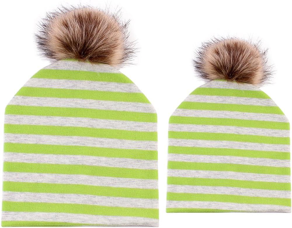 Family Matching 2 PCS Hat Parent-Child Winter Warm Cotton Ski Cap Beanie Hat with Fur Pom Pom Ball