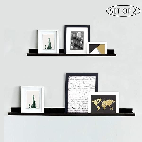 NBWOOD Viva Set Of 2 Photo Ledge Picture Display Floating Wall Shelf Espresso 24 Inch 36 Inch