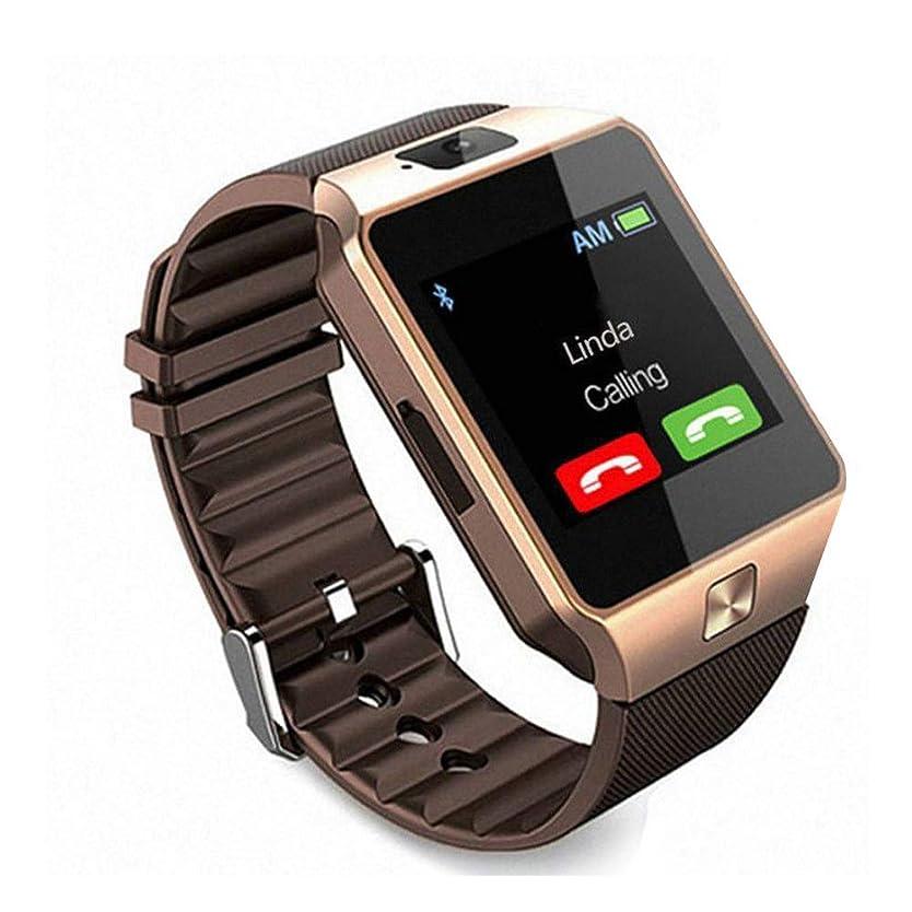 帆加入追うXMONY DZ09 多機能 腕時計 通話対応時計 1.54インチ TFT フルタッチ SIM/TFカード対応 SMS通知 着信通知 活動量計 遠隔音楽 iPhone&Android対応 (ゴールド)