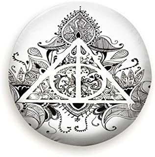 Spare Tire Cover Graphic Symbol Deathly Hallows Black White Abstract Harry Polyester Water Proof Dust-Proof Universal Spare Wheel Tire Cover Fit For Jeep,Trailer, Rv, Suv And Many Vehicle (14,15,16,17