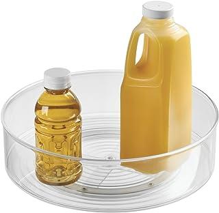 mDesign Plato giratorio – Práctico organizador de cocina para frigorífico y armario – También ideal como especiero – transparente
