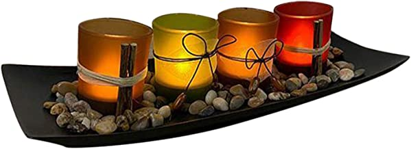 #N/A Set of 4 Tea Light Votive Glass Candle Holders with Tray and Decorative Pebbles Candle Holder for Living Room Wedding...