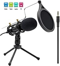 Condenser Recording Microphone 3.5mm Plug and Play PC Microphone, Broadcast Microphone for Computer Desktop Laptop MAC Windows Online Chatting Podcast Skype YouTube Game