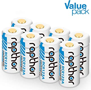 CR123A Rechargeable Batteries - Li-ion Arlo Battery [900mAh 3.7V 8pack] for Arlo Wireless Security Cameras (VMC3030/VMK3200/VMS3230/3330/3430/3530) Security System, Flashlight, Polaroid, Microphone