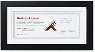 Golden State Art, 5x10 Wood Frame for 4x9 Business License Certificate with White Mat & Table-top Display, Black