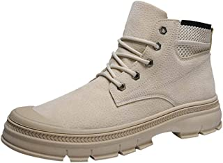 LILICHIC Men's Boots Fashion Retro Autumn and Winter Lace Outdoor Boots Desert Tooling Boots