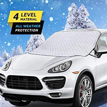 HEHUI Car Windshield Snow Cover,Car Windshield Snow Ice Cover with 4 Layers Protection,Snow,Ice,Sun,Frost Defense,Extra Large Windshield Winter Cover Fits Most Cars and SUV: image