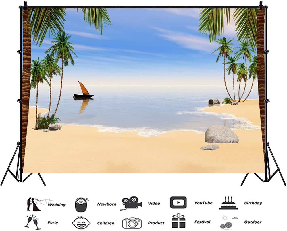 OFILA Seaside Backdrop 16x8ft Tropical Beach Party Photography Background Palm Trees Kids Summer Party Photo Shoots Birthday Portraits Bridal Shower Party Decoration School Events Shoots Props