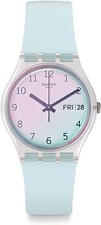 ساعة سيليكون دائرية انالوج بعقارب بمينا ابيض للنساء من سواتش GE713 - ازرق فاتح