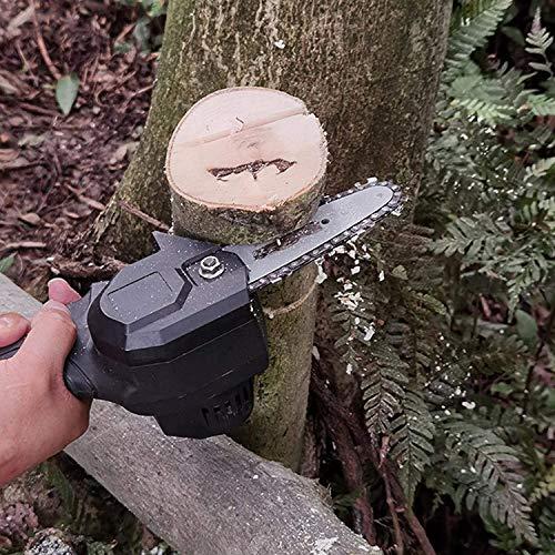 Nuova mini motosega a batteria portatile con caricatore e 2 batterie,motosega elettrica a batteria da 4 pollici 24V,velocità di taglio regolabile,per il taglio del legno del ramo di albero (nero)