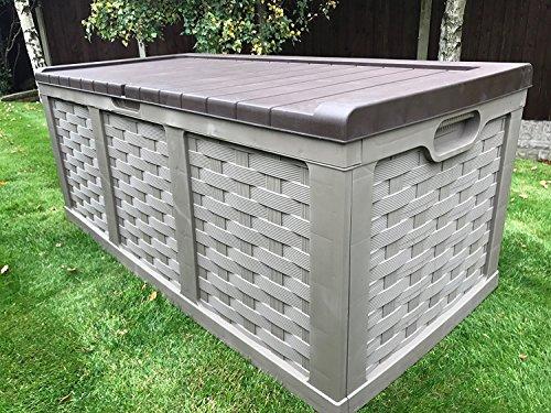 Starplast Jumbo XXL Rattan Style Outdoor Garden Storage Box With Piston Lid & Fully Water Proof