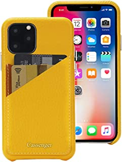 Cassenger Slim Fit Genuine Italian Leather Hard Back Case Protective Cover Snap On Case with 2 Card Holder Slots for iPhone 11 Pro 2019-Yellow