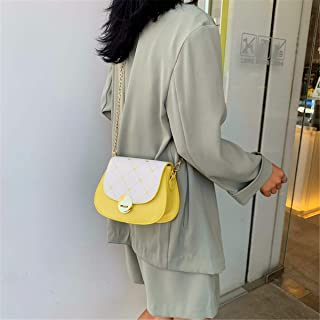 ZZZ Small Fresh Women Bag Fashion Embroidered Piglet Bag Chain Hit Color One Shoulder Slant fashion (Color : Yellow)