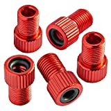 Bike Bits Presta Valve Adapter - Convert Presta to Schrader - French/UK to US - Inflate Tire Using Standard Pump or Air Compressor (5 Pack) (Red)