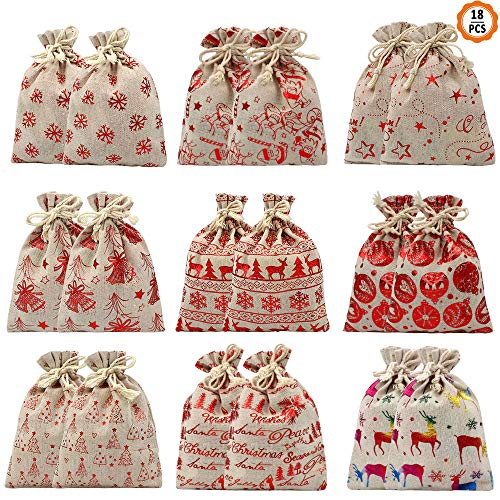 18 PCS Chriatmas Drawstring Gift Bags Sacks, Jute Gift Bags Jewelry Present Pouches Color Print Linen Burlap Bag Christmas Treat Bags for Party Favors (6 Styles, 17X13cm)