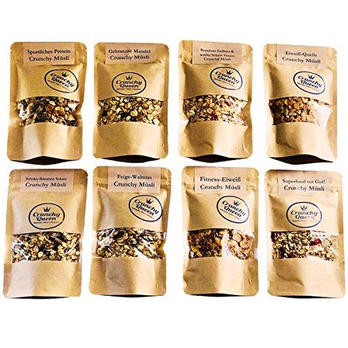 Crunchy Queen Knusper-Müsli Probierpaket, 7x 80 g, +1x 50g Müsli Granola ohne raffinierten Zucker und vegan (610g)