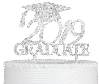 2019 Graduate Cake Topper, Congrats Grad Cake Topper for Graduation Party Decorations Graduate Supplies (Silver)