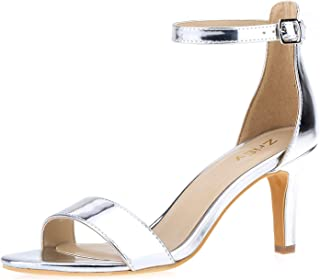 175ac9375f989 ZriEy Women's Heeled Sandals Ankle Strap High Heels 7CM Open Toe Mid Heel  Sandals Bridal Party