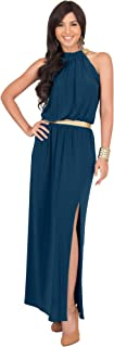 KOH KOH Womens Long Halter Sleeveless Summer Slimming Party Gown Maxi Dress