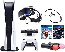 2021 جدیدترین کنسول Playstation و Playstation VR Bundle PS5 Disk نسخه w / کنترل کننده بی سیم ، هدست PSVR ، دوربین ، کنترل حرکت حرکت ، بازی Iron Man