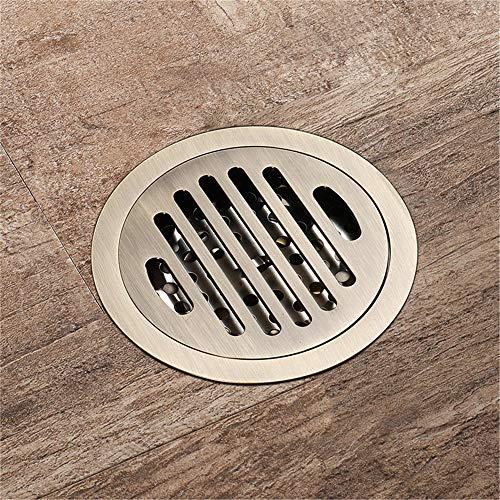 PIJN Bodenablauf Großer Fluss Badezimmer Deodorant Bodenablauf All Kupfer Runde Mesh-Oberfläche Antique Bodenablauf (Color : Metallic, Size : 100x100x41mm)