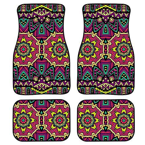 MODEGA Chic Style Paisley Auto Teppich Bodenmatte für Frauen 4 Stück Hawaii Kokos...