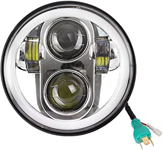 Funlove 5.75 5 3/4 Inch Chrome LED Headlight Halo with DRL for Harley Davidson Motorcycles