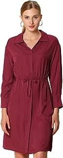 Allegra K Women's Long Sleeve Smocked Office Work Tie Waist Shirt Dress