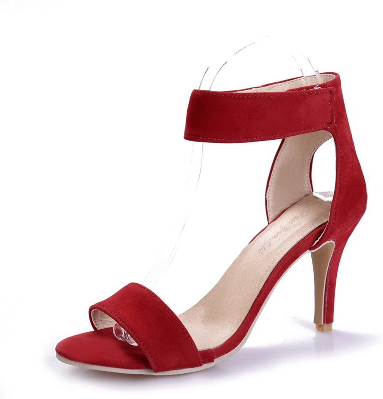 WeenFashion Women's Solid Imitated Suede High-Heels Open Toe Hook-and-Loop Heeled-Sandals